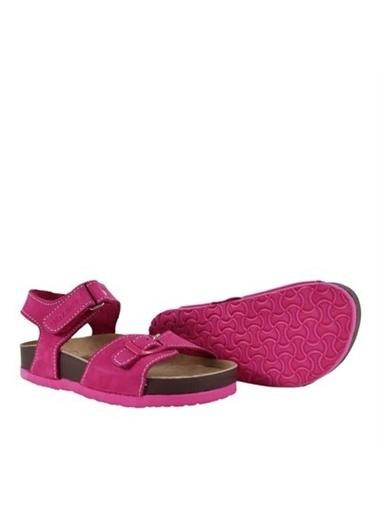 Kids A More Felix Tek Cırtlı Deri Kız Çocuk Sandalet  Fuşya